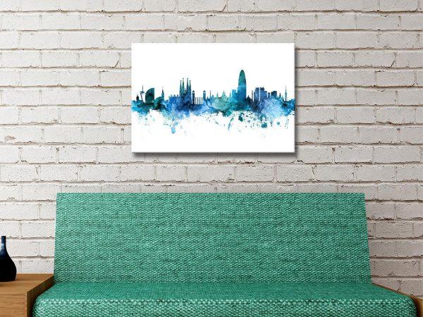 Buy Ready to Hang City Skyline Watercolour Wall Art