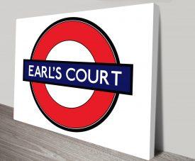 Earls Court London Underground Print on Canvas