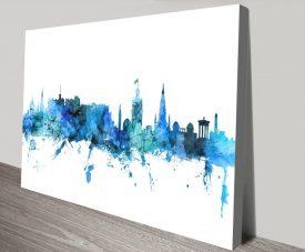Michael Tompsett Edinburgh Skyline Wall Art in Blue