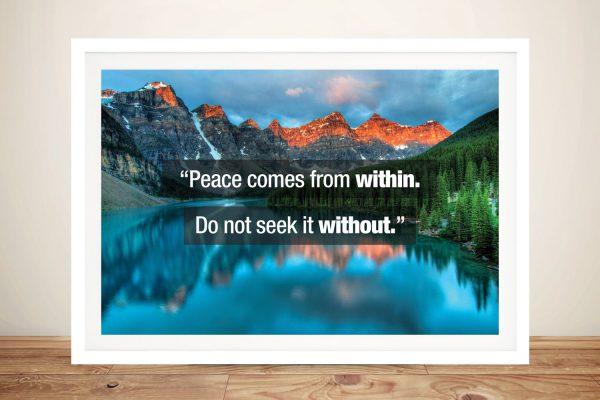 Lake Backdrop Buddha Quote Print on Canvas