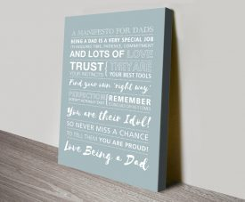 Bespoke Manifesto for Dads Print on Canvas