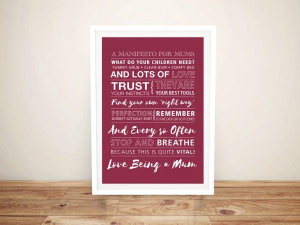 Framed Custom Manifesto for Mums Canvas Print