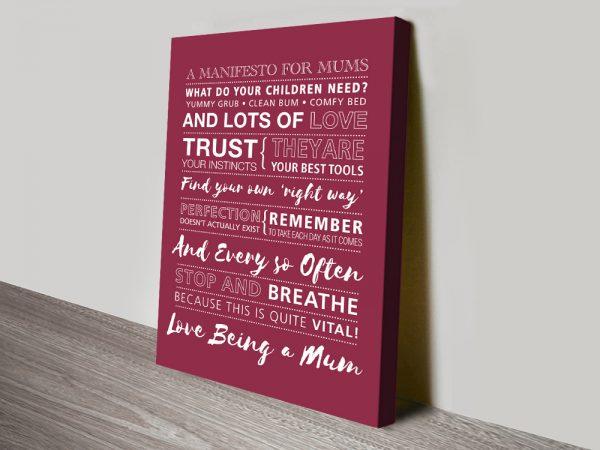 Custom Manifesto for Mums Affordable Wall Art AU