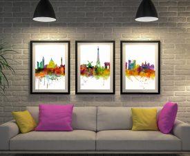 Paris Skyline 3-Panel Framed Canvas Art Set