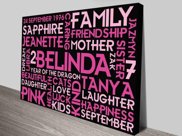 Pretty in Pink Personalised Word Cloud Wall Art