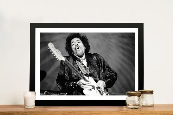 Framed Black & White Jimi Hendrix Pop Art Print