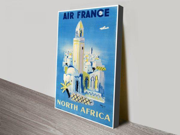 Villemot Air France Vintage Poster Print on Canvas