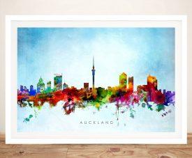 Framed Auckland Skyline Watercolour Canvas Print