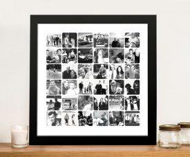 Framed Photo Collage Art in Black & White