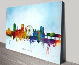 Colourful Brighton Skyline Stretched Canvas Artwork