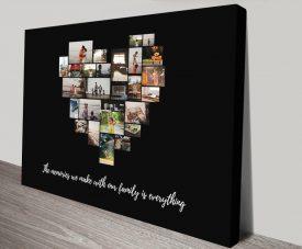 Photo Heart Collage on Black Custom Artwork