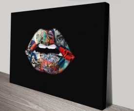 Be Human Graffiti Lips Abstract Wall Art