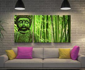 Green Buddha Triptych Spiritual Wall Art
