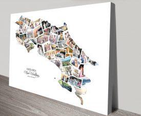 Costa Rica Custom Map Collage Print on Canvas