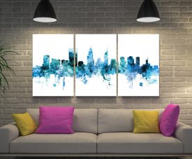 Perth Skyline Blue Triptych Canvas Print Set