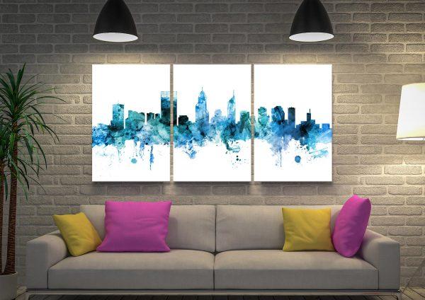 Perth Skyline Blue Triptych Canvas Print Set