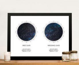 Framed Dual Stars Custom Star Map Print