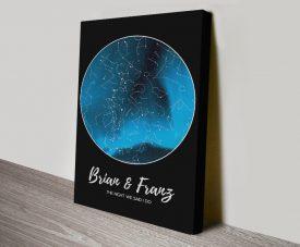 Aurora Borealis Personalised Star Map in Blue