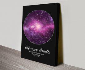 Personalised Purple Cosmo Star Chart Artwork