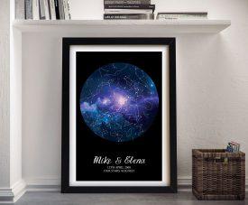 Custom Blue Cosmos Star Map Wall Art