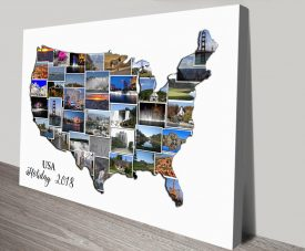 American Map Collage Canvas Wall Art