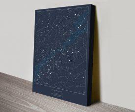 Custom Star Map Print on Canvas