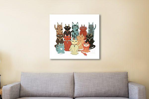 A Dozen Cats Kids Wall Art for Sale Online