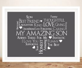 Framed Canvas Heart Personalised Word Art