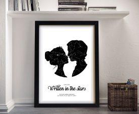 Framed Custom Couple Star Map Wall Art