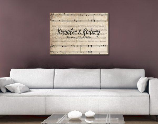 Custom Personalised Sheet Music Canvas Gift