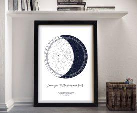 Personalised Moon Star Chart Wall Art