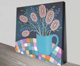 Buy Mug of Joy Floral Print on Canvas