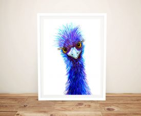 Framed Quirky Emu Linda Callaghan Artwork
