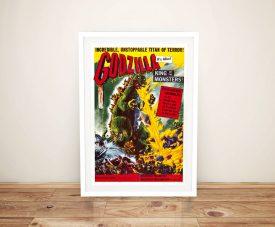 Framed Godzilla Vintage Movie Poster Print