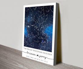 Blue Galaxy Custom Star Map Print on Canvas