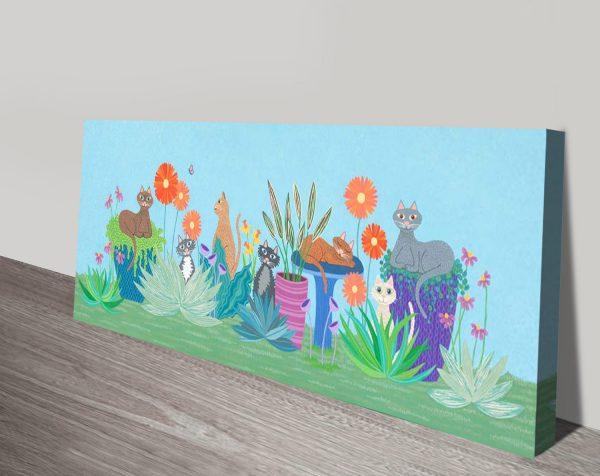 Garden Cats Affordable & Fun Panoramic Wall Art