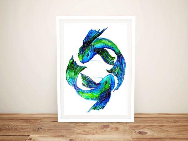 Koi Fish Framed Ready to Hang Canvas Art AU