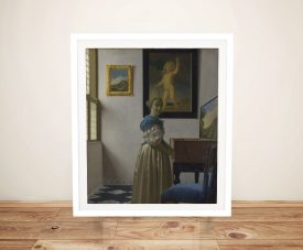 Lady Standing at a Virginal Framed Print