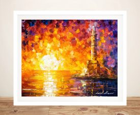 Lighthouse & Sunset Leonid Afremov Artfremov Art