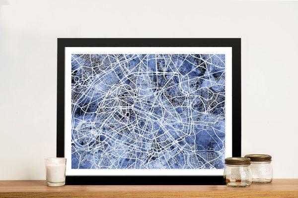 Framed Paris Street Map Canvas Artwork