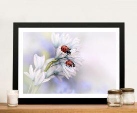 Two Ladybirds Framed Floral Canvas Artwork