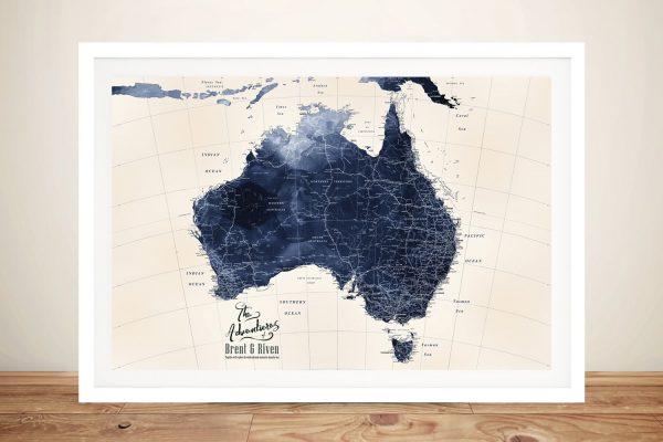 Framed Map of Australia in Blue Cheap Online