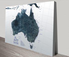 Australia Detailed Custom Map in Dark Tones
