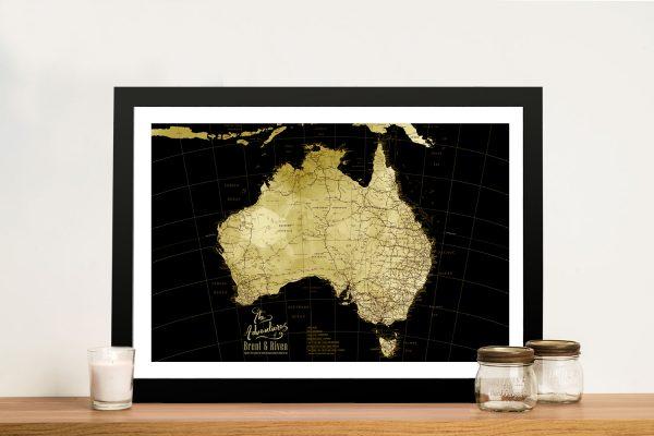 Framed Black & Gold Custom Map for Sale