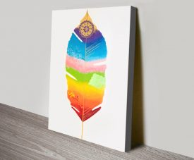Buy Chakra Feather Colourful Canvas Art