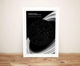 Rings Personalised Framed Star Map Art