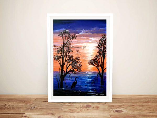 Framed Sunset Blues Linda Callaghan Print