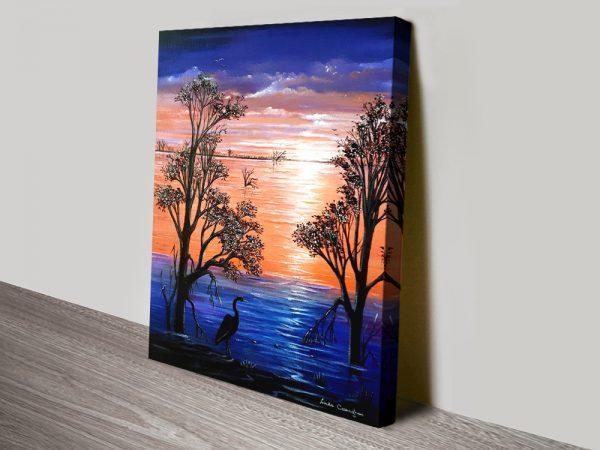 Sunset Blues Affordable Landscape Canvas Art