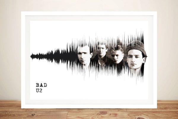 Bad U2 Soundwaves Framed Canvas Art