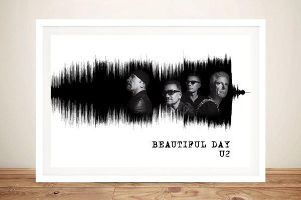 U2 Beautiful Day Framed White Soundwaves Print